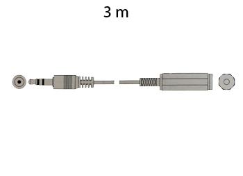CONEXION JACK 3,5 ST MACHO - JACK 3,5 ST HEMBRA, 3M DORADA