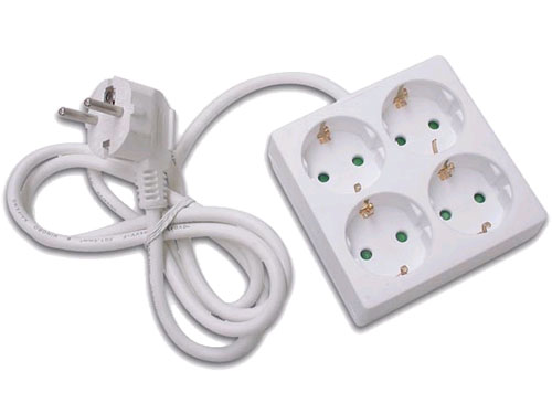 4 Socket Multi-Plug Adapter with Earthing Contact - square - 36.228
