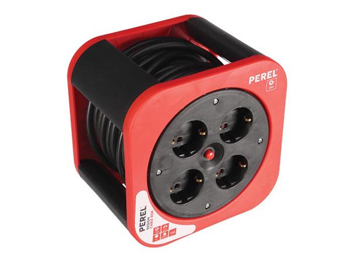 Enrouleur - 4 Prises - Disjoncteur - Terre Allemande - Câble 10 m x 1,5 mm - ECBOX10-G