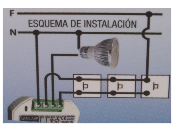 Regulador de luz de cajetin pulsador led dimable 6w - Regulador intensidad luz ...