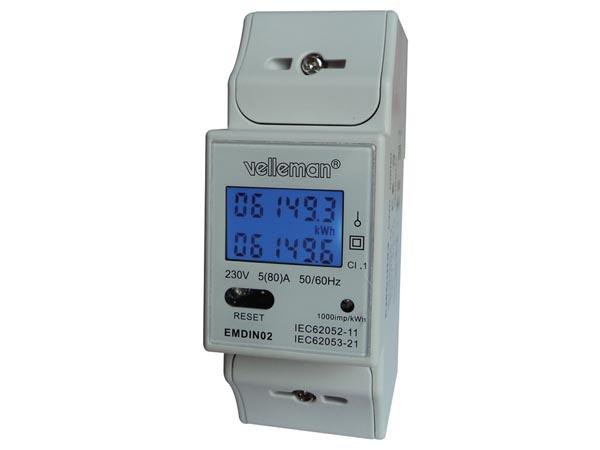 Contador Medidor De Energía Carril Din Medidor Kwh Monofásico 2 Módulos Emdin02
