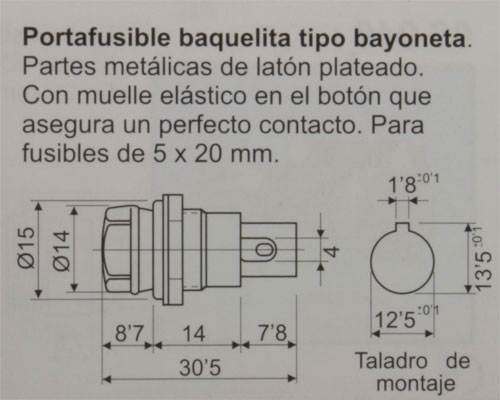 Portafusibles Chasis Bayoneta 5 x 20 mm