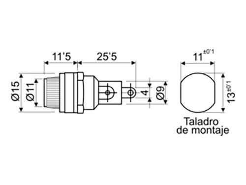 Suporte de fusível de chassi 5 x 20 mm Rosca - Soldar