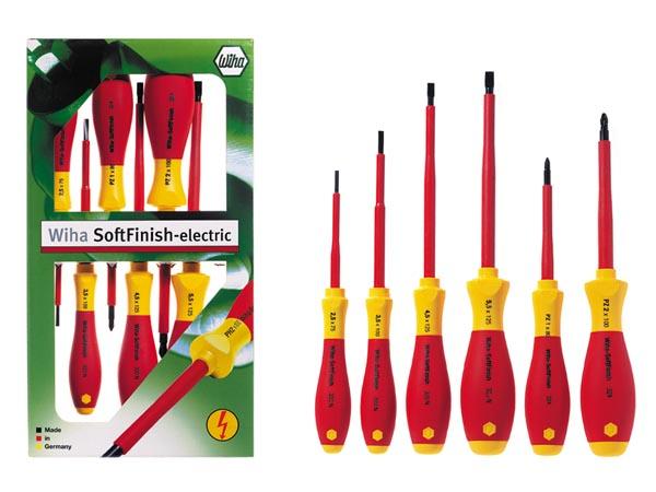 Wiha WH25477 - Conjunto 6 Chaves de Fenda Pozidriv Ranhurado - Softfinish® Electric - Aprovação VDE e GS