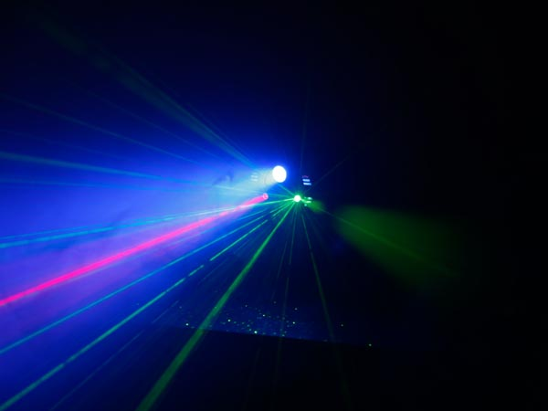 Red and green laser 125 mW - 3W blue LED - remote control