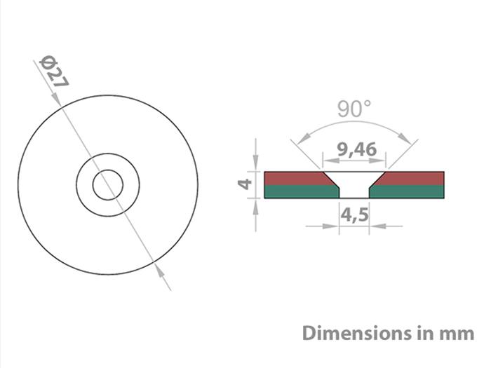 Imán de Neodimio - Disco Ø27 x 4 mm - N35 - Avellanado