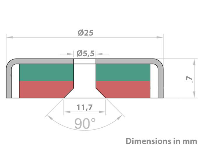 Imán de Neodimio - 25 mm - Avellanado