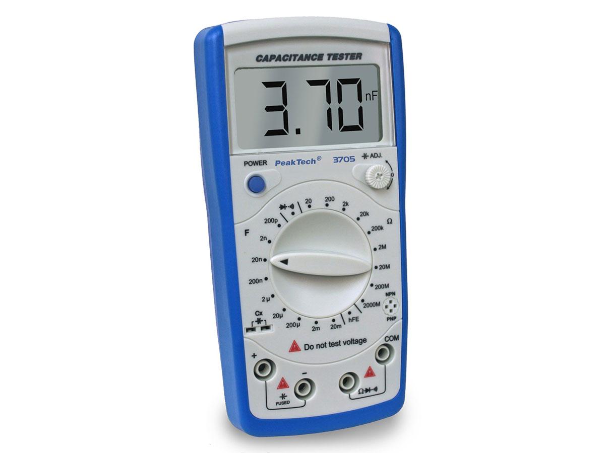 PeakTech P3705 - Digital Capacitance Meter with Ohmmeter