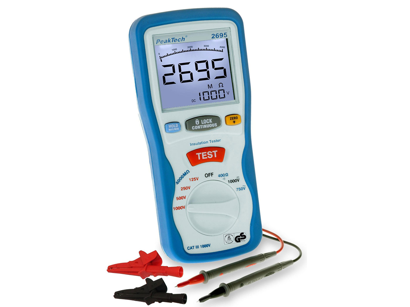 PeakTech P2695 - Medidor de Aislamiento Digital 125/250/500/1000 V