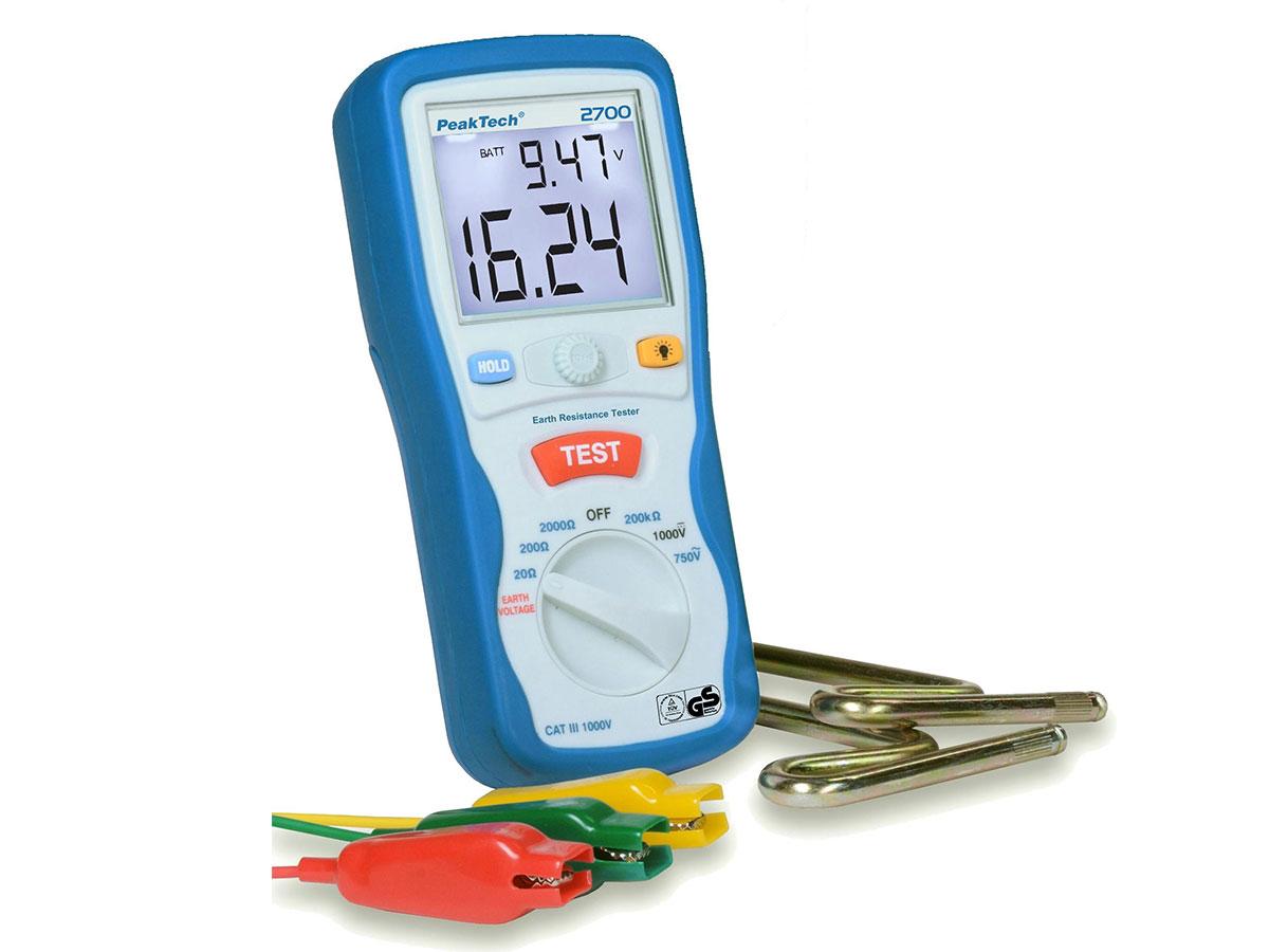PeakTech® P2700 - Medidor de Tierra 20/200/2000 Ohmios