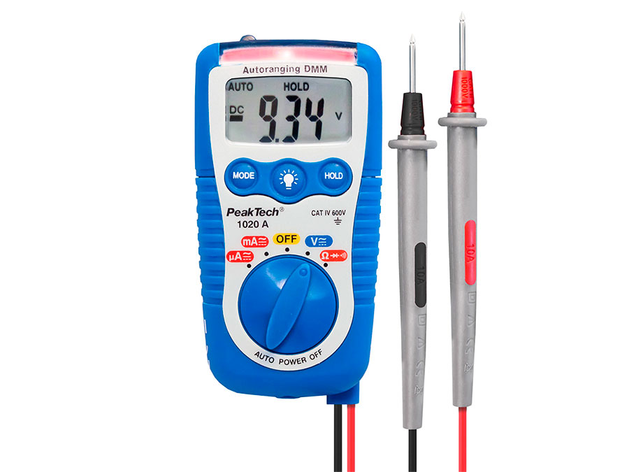 PeakTech® P 1020 A - 3 in 1 - Pocket Multimeter with Automatic Fuse - Contactless Voltage Detector
