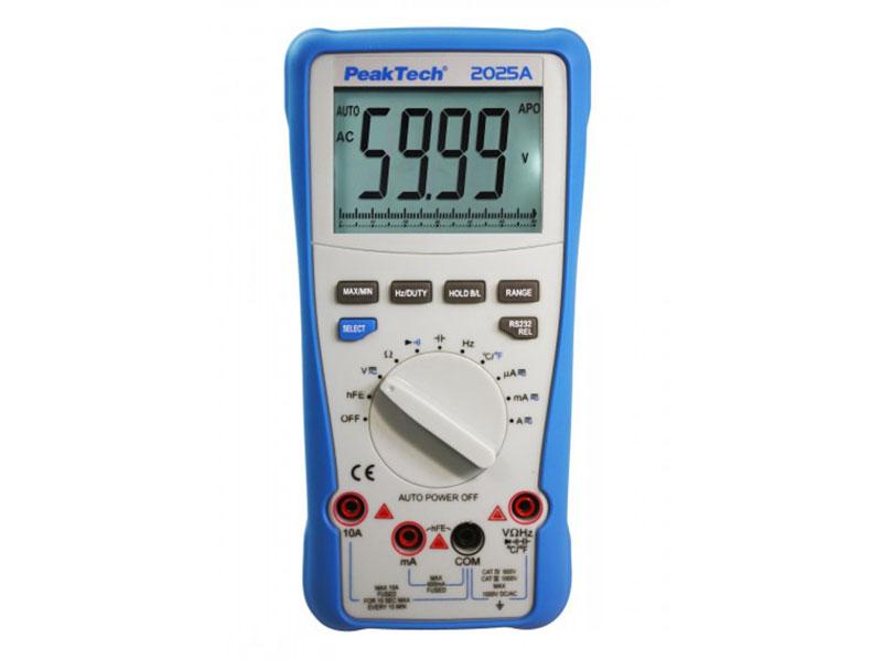 PeakTech® P 2025 - Multímetro Digital - 600 Vca/Vcc - 10 Aca/Acc - 6.000 Cuentas - Rango Automático - USB