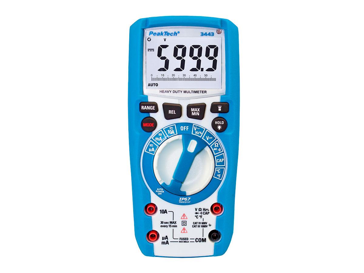 PeakTech® P 3443 - Multímetro Digital - 1000 Vca/Vcc - 6000 Cuentas - IP67 - Botones de Función Iluminados