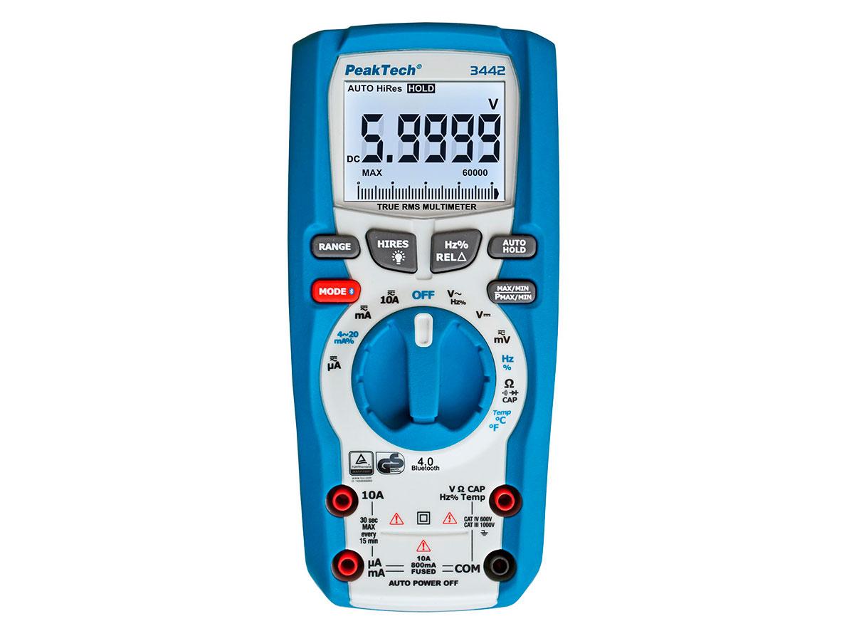PeakTech P 3442 - Digital Multimeter - 1000 Vac/Vdc - True RMS - 60000 Counts - Bluetooth