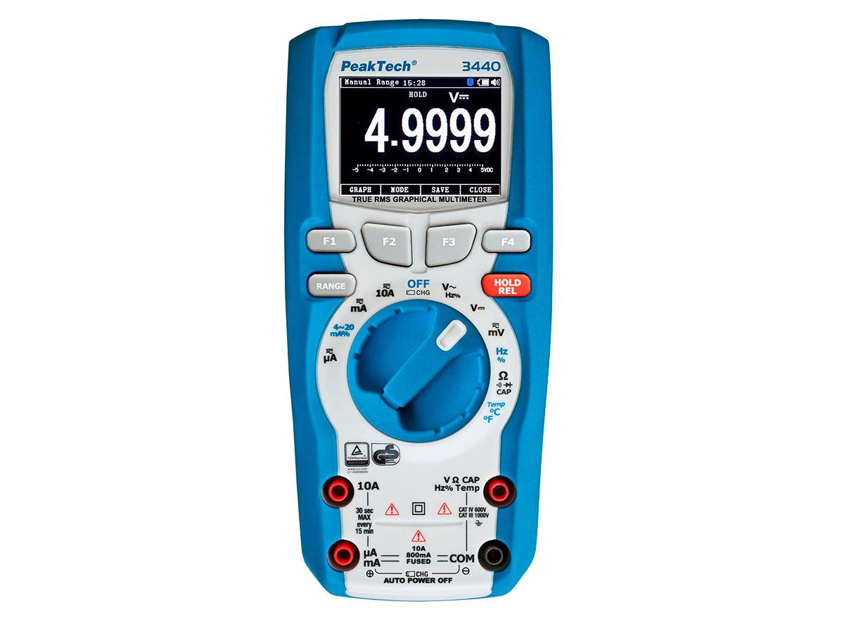 PeakTech® P 3440 - Multímetro Gráfico - 1000 Vca/Vcc - True RMS - 50000 Contas - Data Logger - Bluetooth 4.0