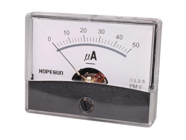 Instrumento Panel Amperímetro Analógico 60 x 47 mm - 50 µA cc - AIM60005