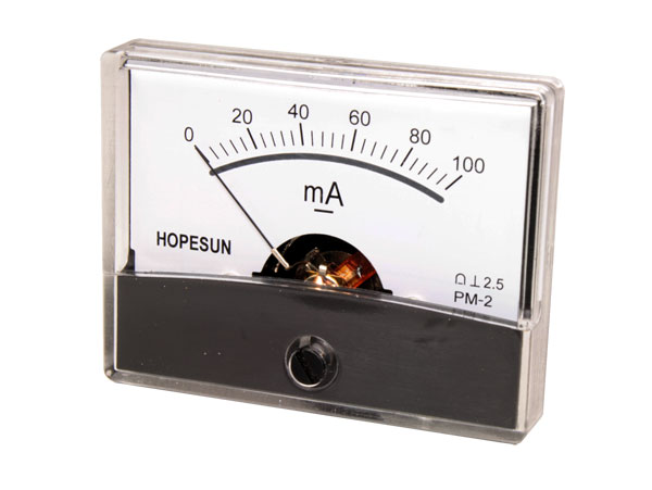 Analogue Current Panel Meter 60 x 47 mm - 100 mA dc - AIM60100