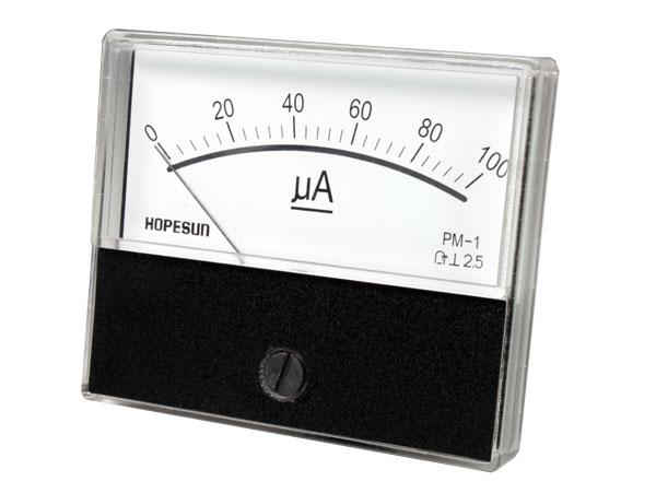 Analogue Current Panel Meter 70 x 60 mm - 100 µA dc - AIM70100U