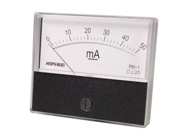Instrumento Painel Amperímetro Analógico 70 x 60 mm - 50 mA cc - AIM7050