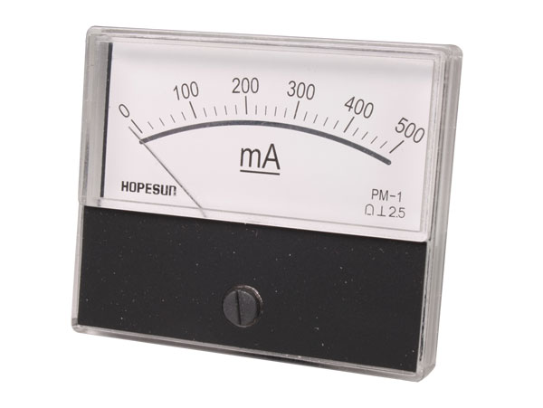 Analogue Current Panel Meter 70 x 60 mm - 500 mA dc - AIM70500
