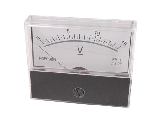 Analogue Voltage Panel Meter 70 x 60 mm - 15 V cc - AVM7015