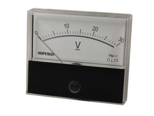 Instrumento Panel Voltímetro Analógico 70 x 60 mm - 30 V cc - AVM7030