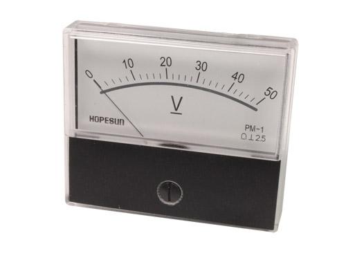 Instrumento Panel Voltímetro Analógico 70 x 60 mm - 50 V cc - AVM7050