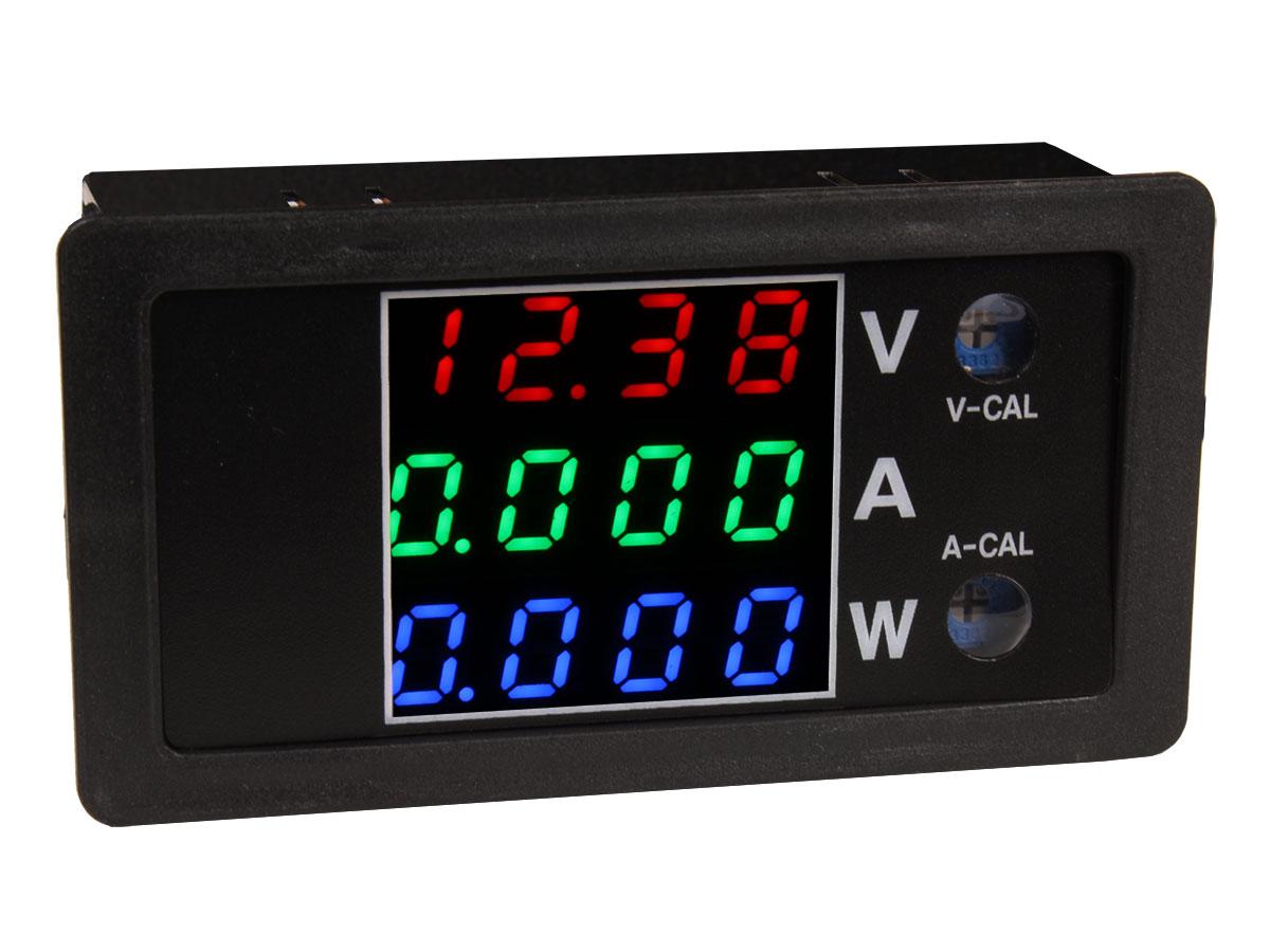 Instrumento Medidor de Panel a LED, Voltímetro, Amperímetro, Vatímetro - 100Vdc / 10Adc