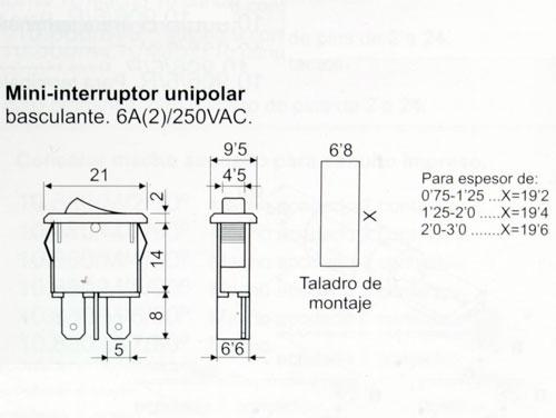 Interruptor Basculante 2P 1C - Tecla Negra - 11.171