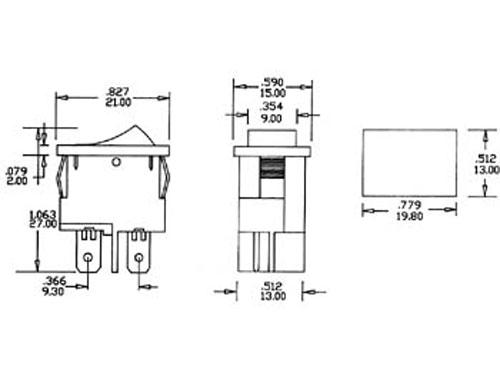 Interrupteur à Bascule 2P 2C - Bouton Noir - 11.188I