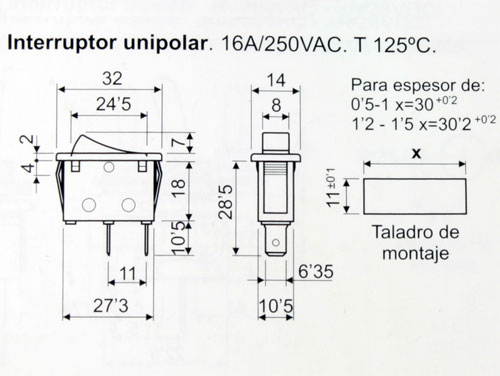 2P 1C - Rocker Switch - White Button - 11.400.I/B
