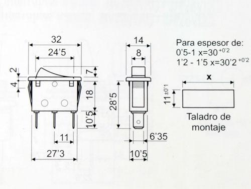 Interruptor Basculante 2P 1C - Tecla Verde - 11.400.IL/NV