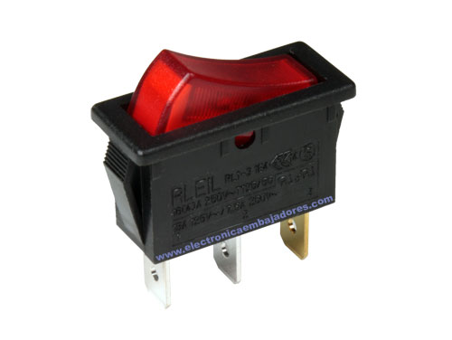 Interrupteur à Bascule 2P 1C - Bouton Rouge - 11.400.IL/NR