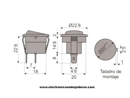 2P 1C - Rocker Switch - Black Button - 11.478.I