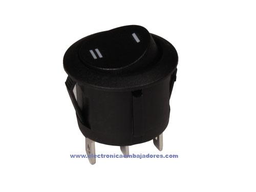 Interruptor Comutador Basculante 2P 1C - Circular 20 mm - Botão Preto - 11.478.C