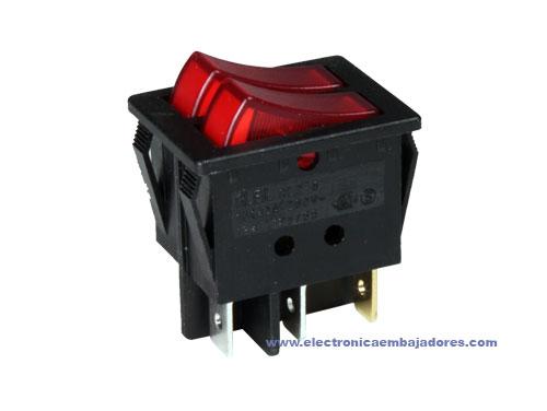Interruptor Comutador Basculante Duplo 2P 1C - Botões Iluminados Vermelhos - 11.410.ILL/NRR