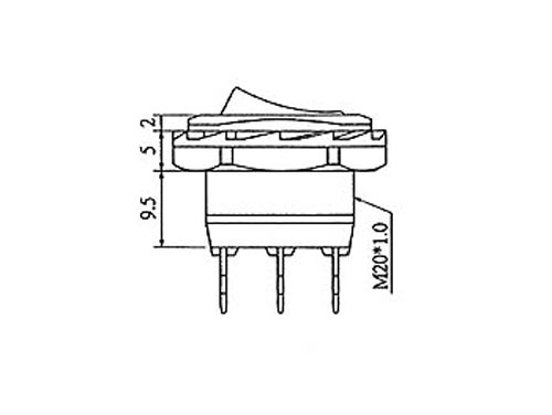 Interruptor Basculante 2P 1C - Tecla Iluminada Roja - R1945C