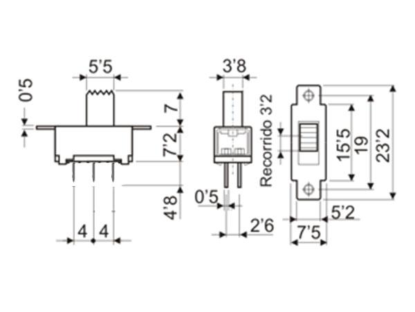 Interruptor Conmutador Deslizante 2P 2C