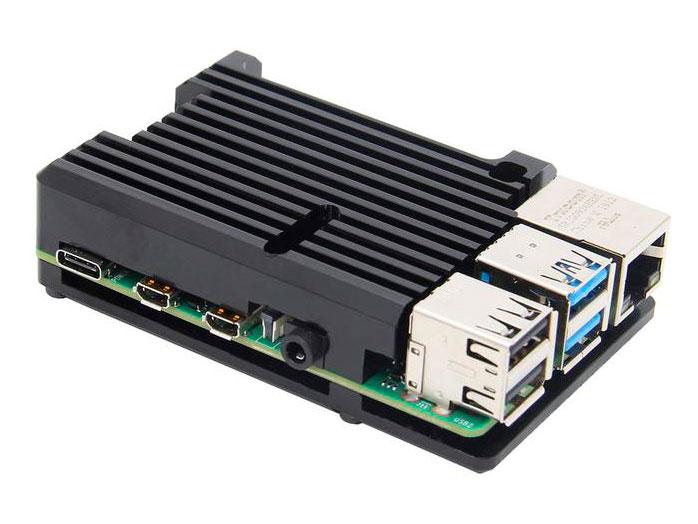 Boîtier pour Raspberry Pi 4 Model B Noir - Aluminium - Dissipateur Thermique