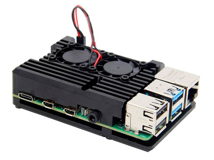 Caja Raspberry Pi 4 Negra Modelo B - Aluminio - Con Radiador y Doble Ventilador