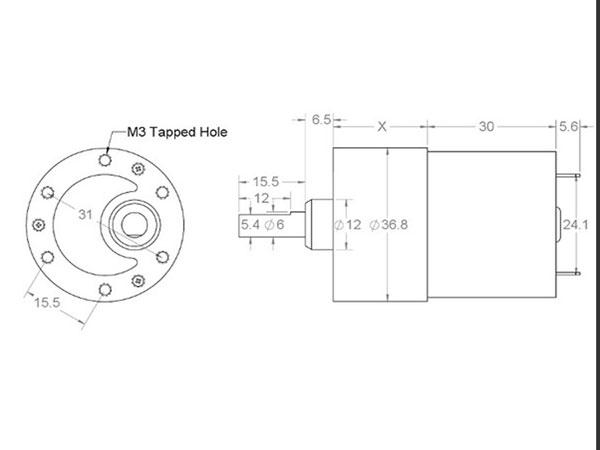 DC Motor 37 x 57 mm 12 V - 100 rpm - 100:1 - 1106