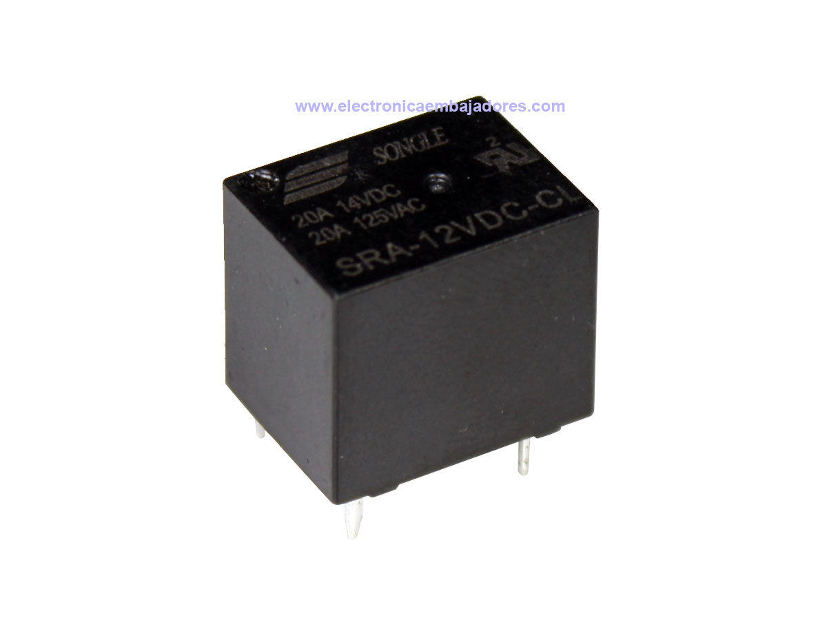 Songle SRA-12VDC-CL - Relé Miniatura T74 - 5 Pin - SRA Series - 12 Vcc 1 CO 20 A