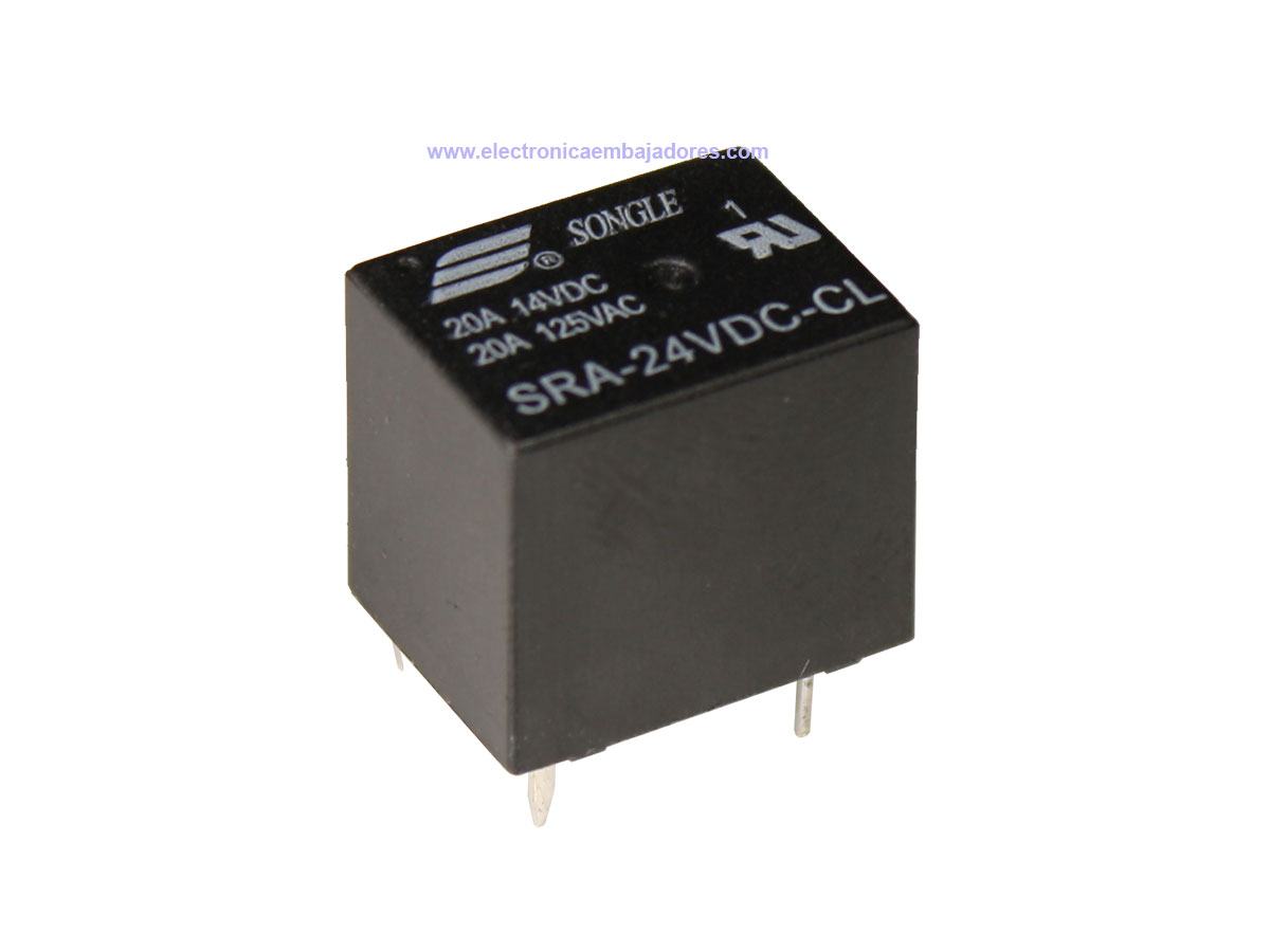 Songle SRA-24VDC-CL - T74 Miniature - 5 Pin - SRA Series - 24 Vdc 1 CO 20 A