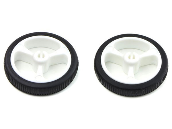Pair of 32 x 7 mm wheels - white
