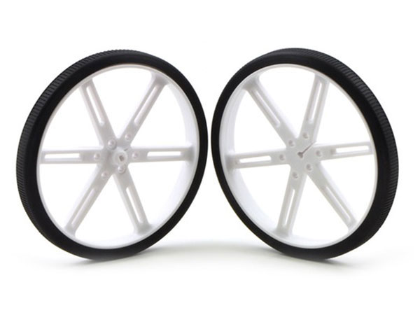 Pair of 90 x 10 mm Wheels - White