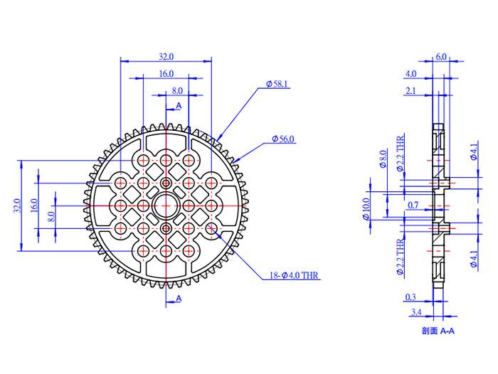Makeblock - Roda Transmissão dentada 56T (56 Dentes) - Plástico - 2 Unidades - 83452