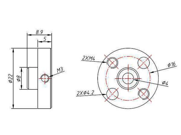 Makeblock - Moyeux pour Axe Moteur - 4 mm - 84740