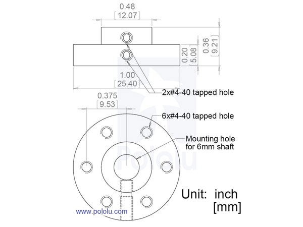 Pair of Mounting Hubs for Shaft Motor - 6 mm - 1083