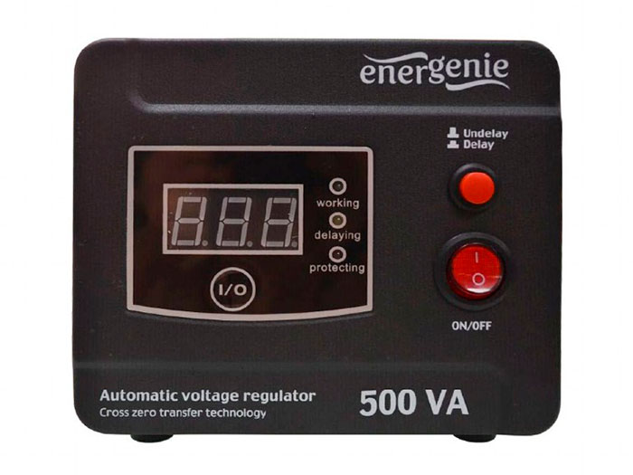 EnerGenie AVR-D500-01 - Regulador y Estabilizador Voltaje Red 220V Automatico - 500VA - Digital Series