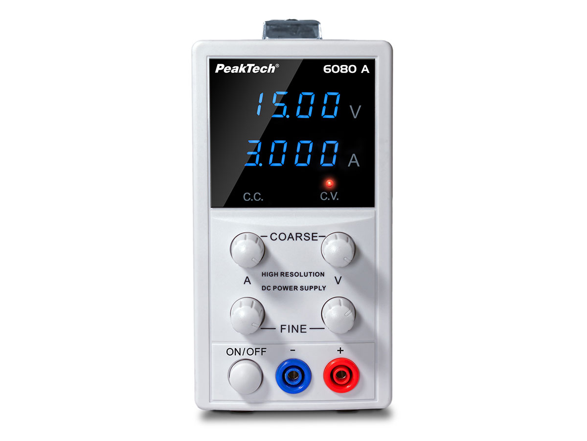 PeakTech® P6080A - Fonte de Alimentação Laboratório 0-15 V - 0-3 A